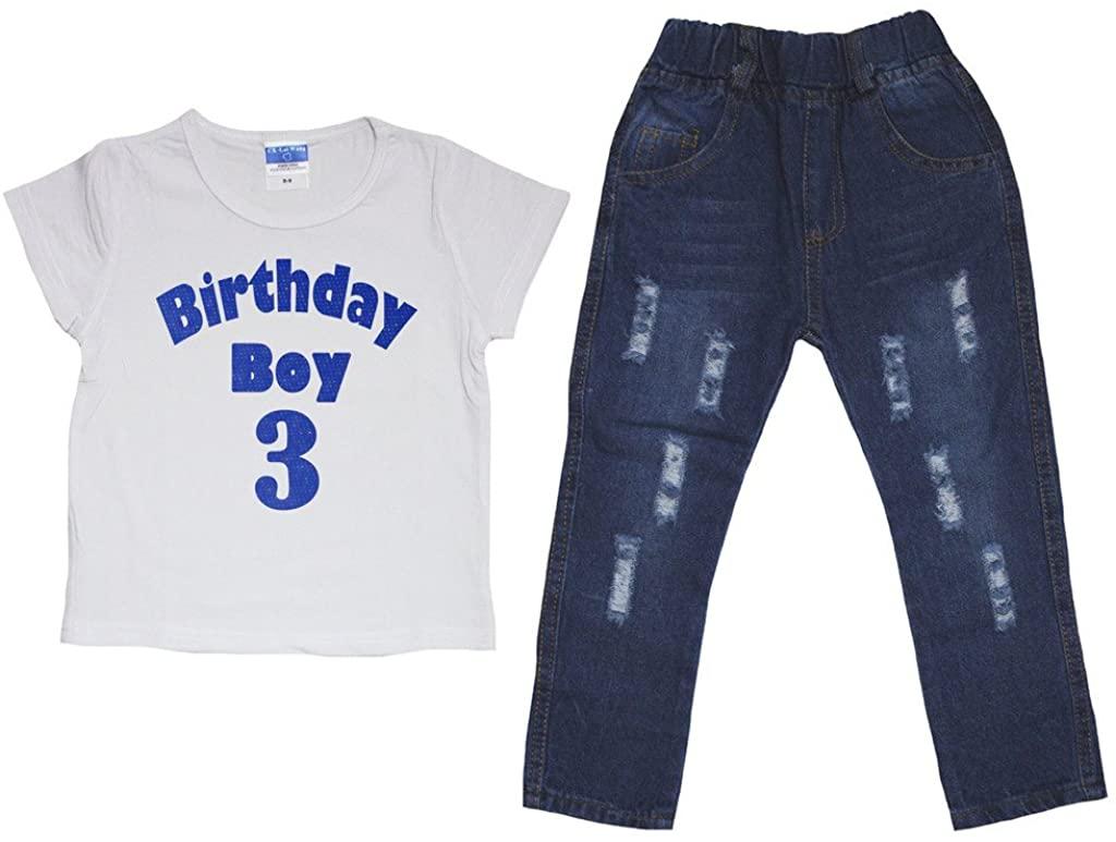 Leaf Sison Birthday Boy White Cotton T-Shirt Jean Pant Set For Children