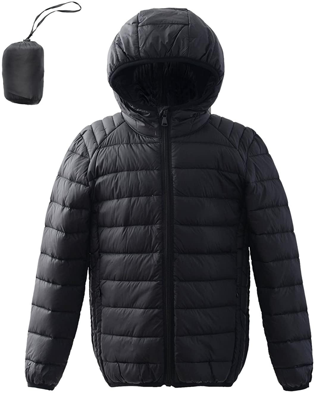 M2C Boys Girls Hooded Ultra Light Packable Windproof Down Jacket