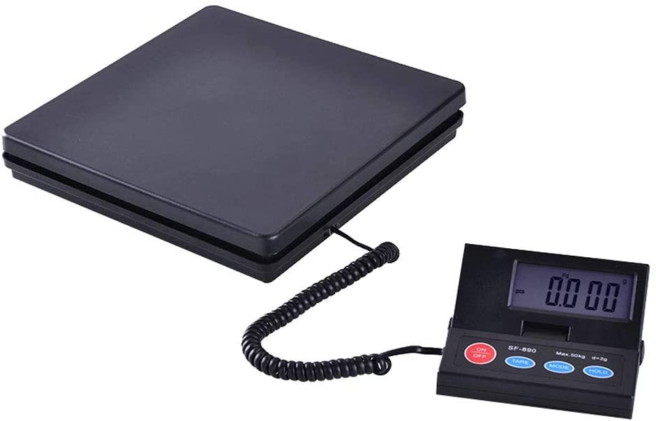 ZCXBHD 50KG/110lb Parcel Scales, Heavy Duty Postal Shipping Packet Luggage Multi Purpose Weighing Platform Scales - Black 9.15 (Capacity : 10KG/1G)