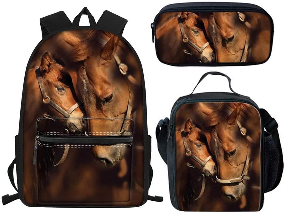 Babrukda Horse Designer Girls Backpack Bookbag School Pack Lunch Bag Pencil Bag