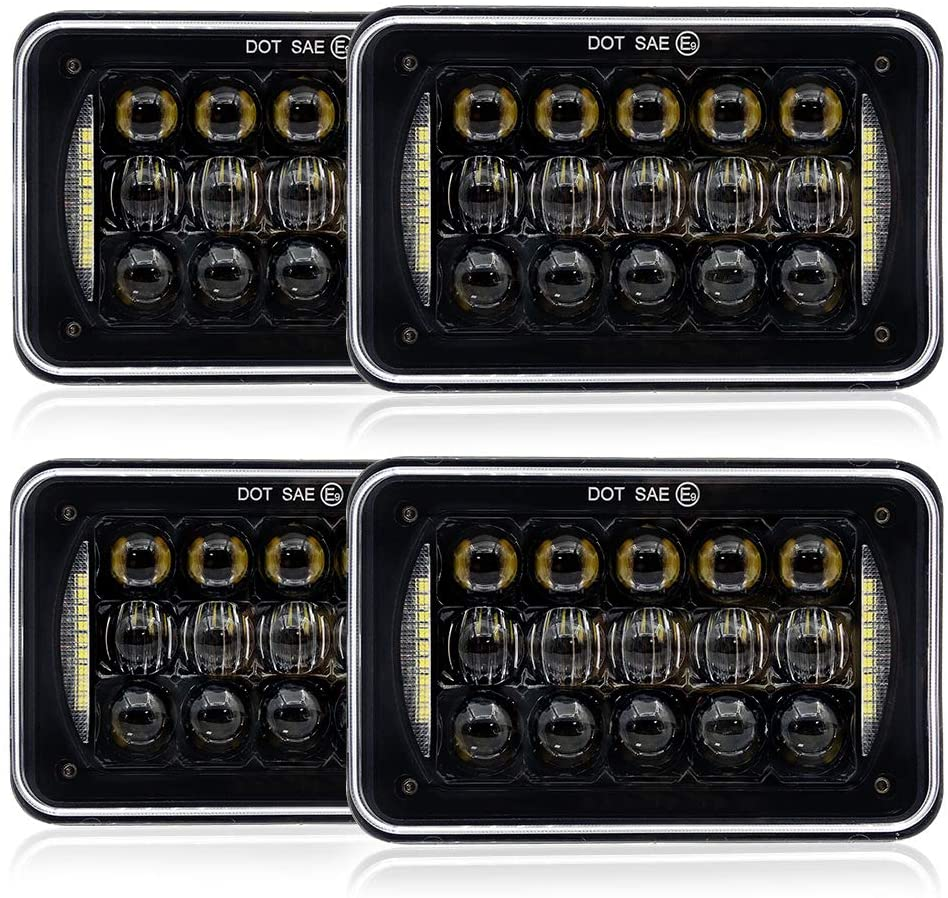 Galvor 4x6 inch LED Headlights For Kenworth Truck 48w Rectangular Replacement Headlight with DRL for Peterbilt Freightliner Ford Probe Chevrolet H4651 H4652 H4656 H4666 H6545 Black(4 PCS)
