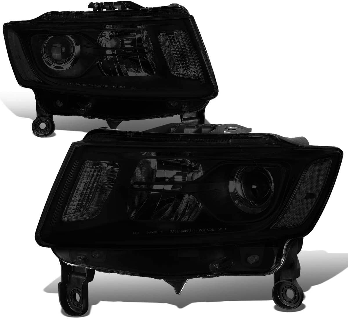 Pair of Black Housing Smoked Lens Clear Corner Projector Headlight Lamps Replacement for Jeep Grand Cherokee 14-16