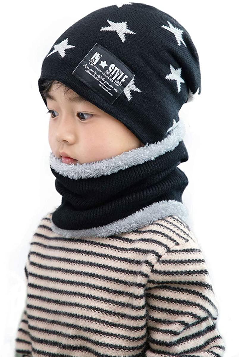 Fyant Boys Winter Set Infant Knitted Beanie Warm Plush Hat Cute Scarf Cozy Skull Cap (2 Piece)