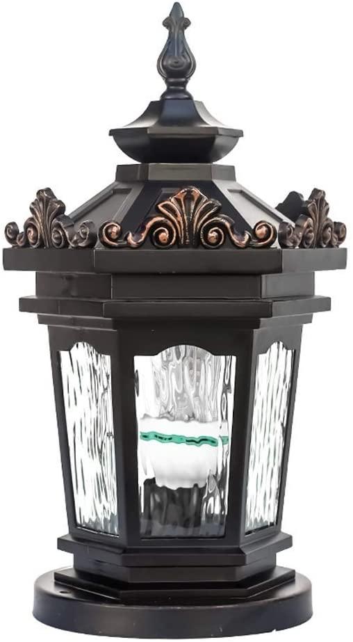 Pcqre Traditional Aluminum Glass Lantern Street Lamp IP55 Outdoor Column Light Courtyard Waterproof Path Light E27 Villa Pillar Lamp Lawn Lighting Light Fixture