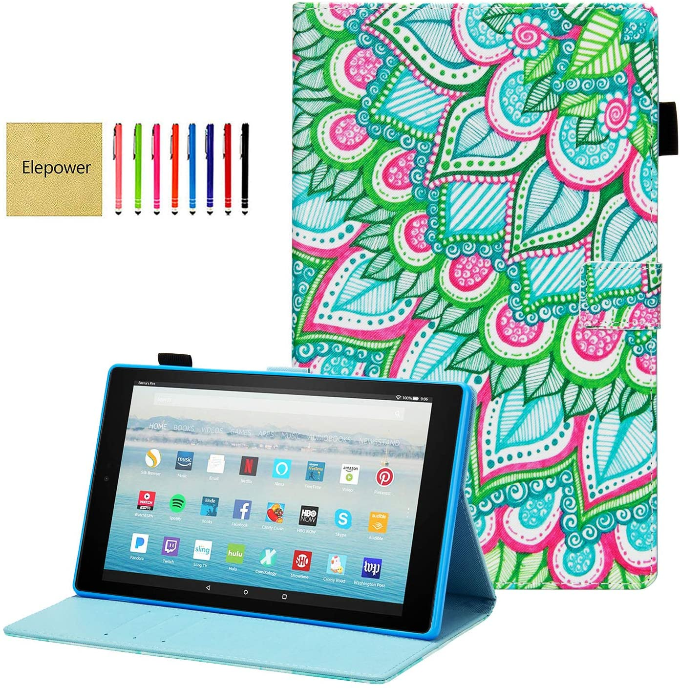 Elepower Folio Case for Fire HD 10 (9th/7th/5th Generation, 2019/2017/2015 Release), Slim Premium PU Leather Smart Stand Cover Auto Wake/Sleep for All-New DHgate Fire 10.1 Inch Tablet, Flower