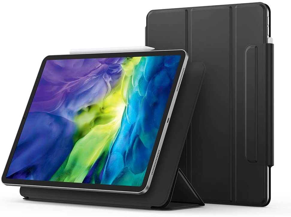 UGREEN Magnetic Case for iPad Pro 11 2020 Strong Magnetic Attachment Smart Slim Trifold Stand Cover Protective Case, Auto Sleep/Wake, Hard Back Cover Black