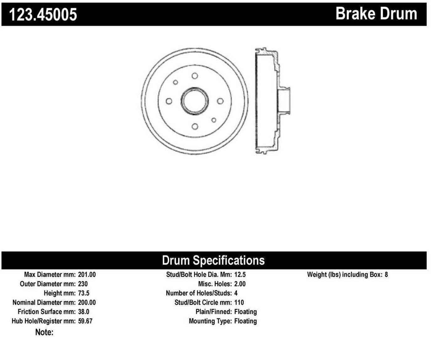 Centric Parts 123.45005 Brake Drum