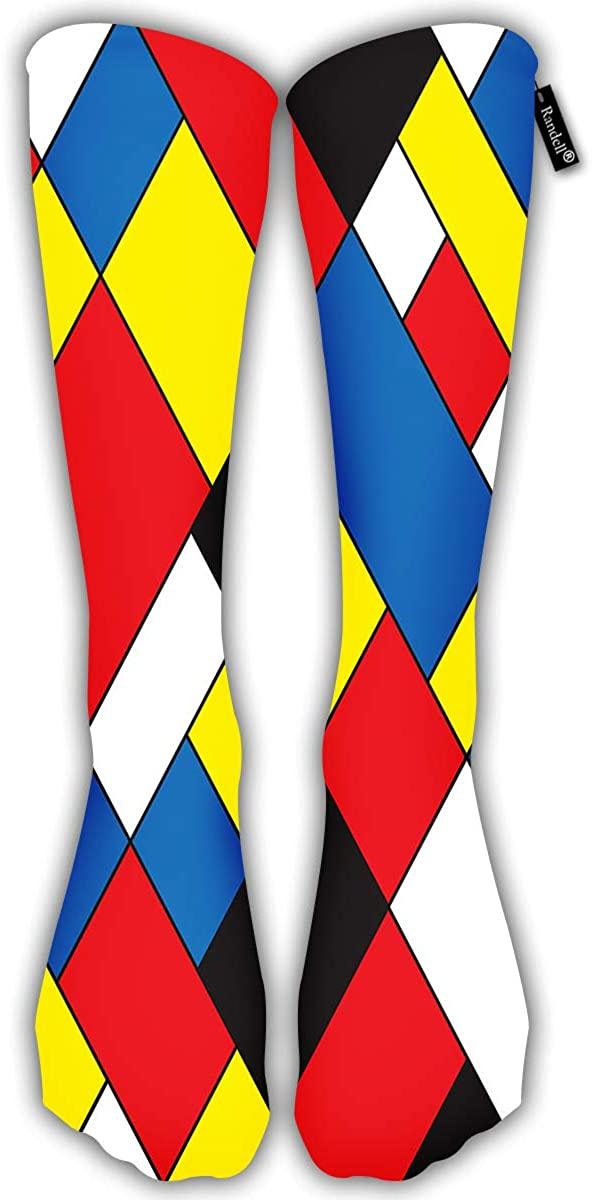 Comfortable Adult Knee High Sock California Colorful On Black Gym Outdoor Socks