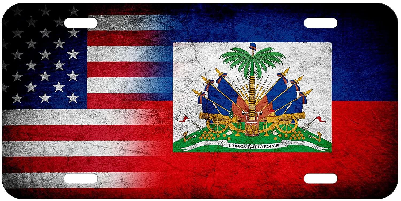 ExpressItBest High Grade Aluminum License Plate - Flag of Haiti (Haitian) - Rustic/USA