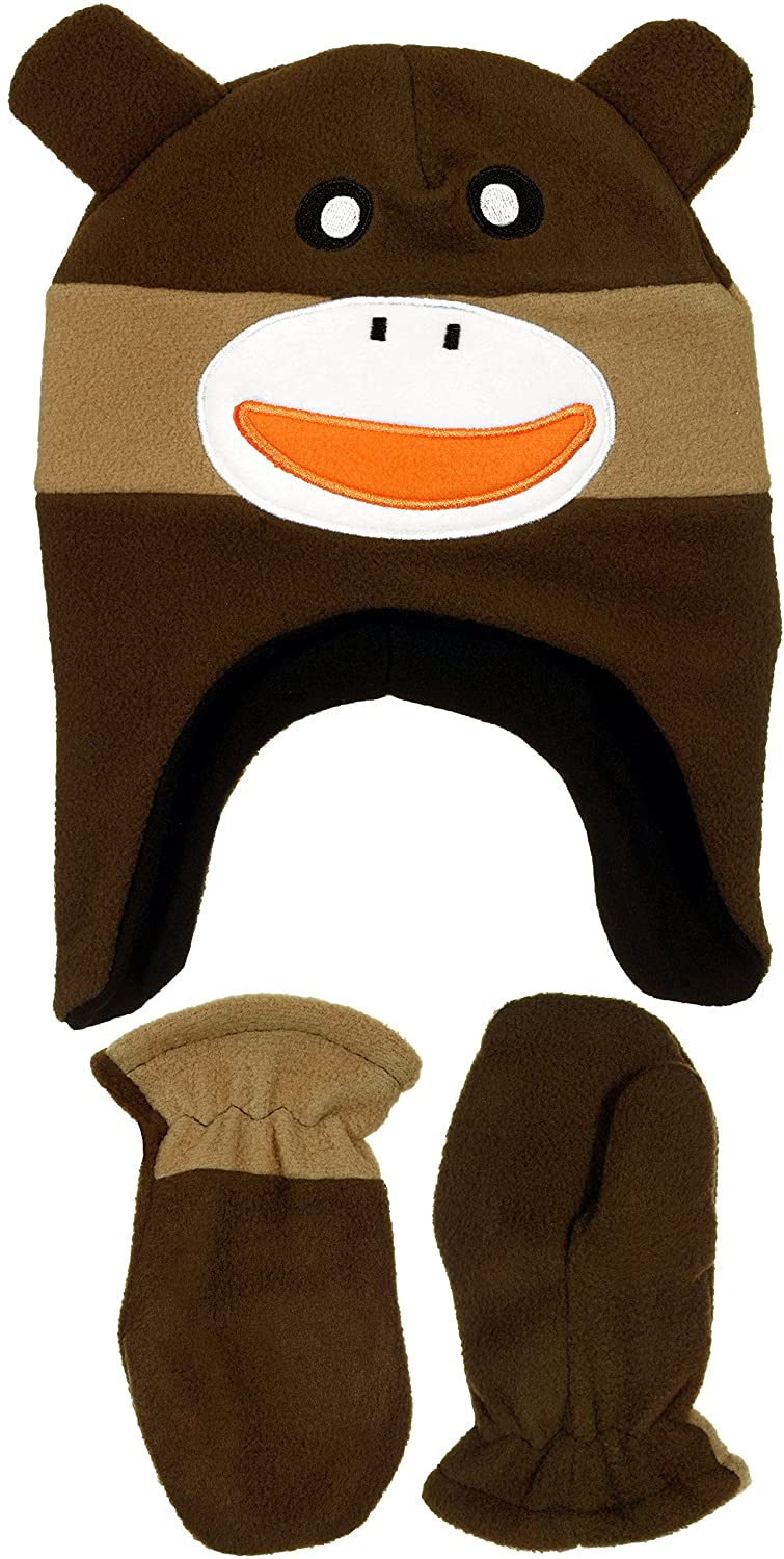 Infant Boys Monkey Face Micro-Fleece Beanie & Mittens Set in 2 Colors