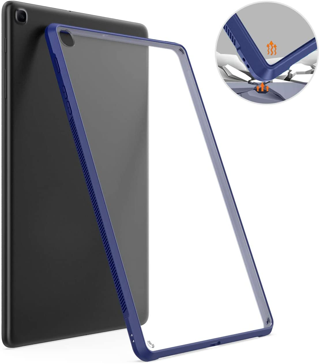 TiMOVO Case for Samsung Galaxy Tab A 10.1 2019(T510/T515), Slim Lightweight Shockproof Flexible Transparent TPU Skin Bumper Edge Protection Back Cover Shell for Galaxy Tab A 10.1 2019 Tablet - Indigo