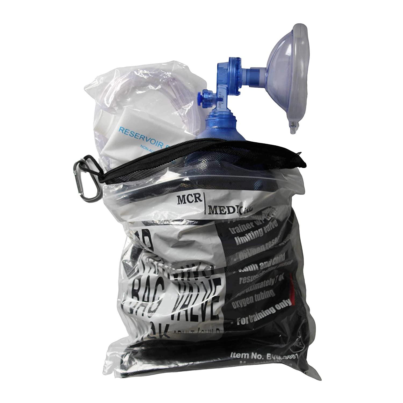 CPR Training Bag Valve Mask (BVM) ADULT/CHILD in Mesh Bag, BVM-3081-001