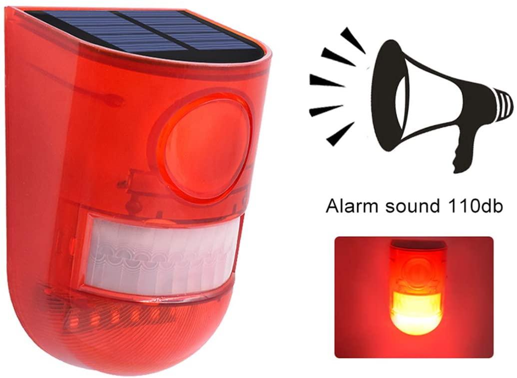 Solar Alarm Light Sunsbell Solar Strobe Light Motion Sensor Security Alarm System 110dB Loud Caution Lights for Home Farm Barn Villa Yard