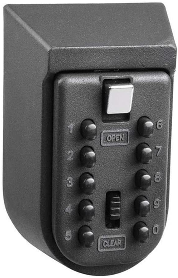 PCF Key Safe Box Aluminium Alloy Wall Mounted Home Safety Password Security Lock Storage Boxes with Code High Capacity Protection (Color : Black)