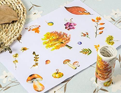 Bblythe 2 Rolls Washi Tapes for Notebooks, DIY Crafts and Gift Decorative Tape Notebook Adhesive Tape Masking Tape 9cm / 3.5 inch Wide Washi Tape Floral Pattern Green Plants Purple Grape Leaf Tree
