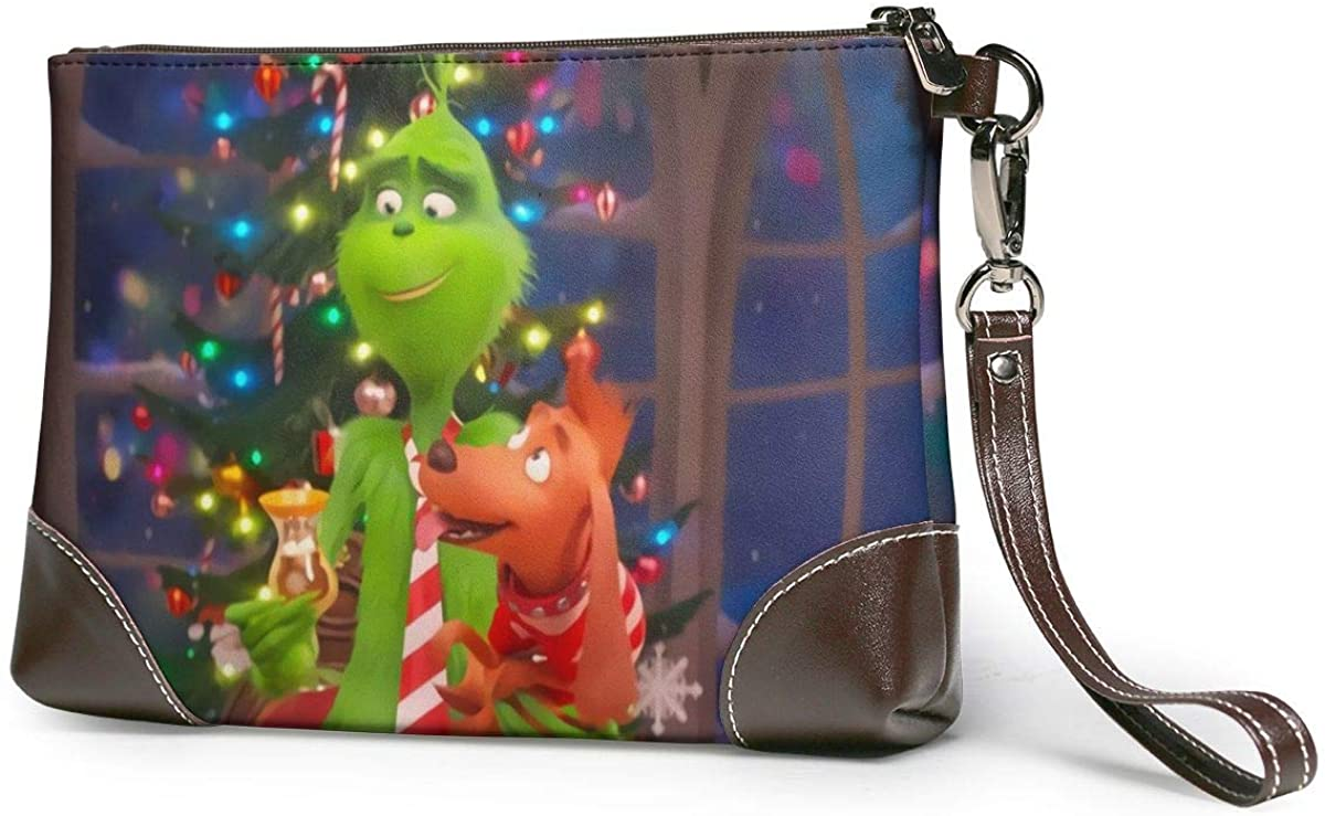 The Grinch Adorable Dog Max Leather Clutch Purses Bag Phone Card Wallets Strap Zipper Soft Leather Wristlet Clutch Bags For Women Men With Slots Real Cowhide Leather Clutches