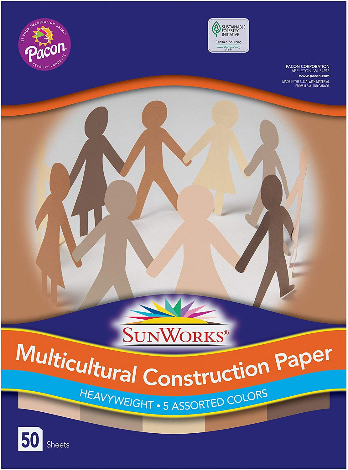 Pacon SunWorks 9512 Multicultural Construction Paper, 12