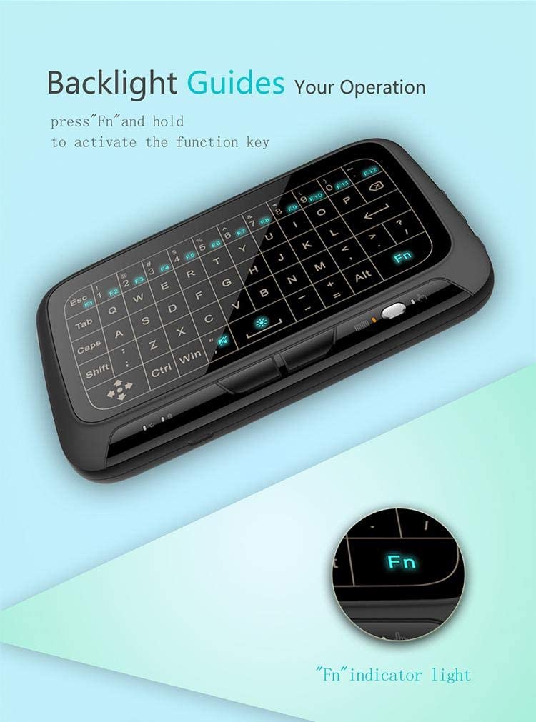 Calvas 10pcs H18+ 2.4GHz Wireless Mini Keyboard Touchpad Backlight Keyboard Large Touch Pad Remote Control for Smart TV Android TV Box