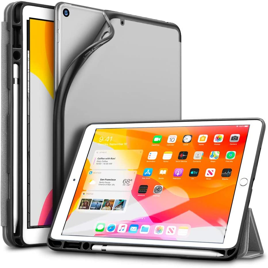 ESR for iPad 7th Generation Case with Pencil Holder, Auto Sleep/Wake Function Rebound Trifold Smart Case for iPad 10.2 Inch 2019, Multiple Viewing Stand Case with Soft Flexible TPU Back Cover - Gray