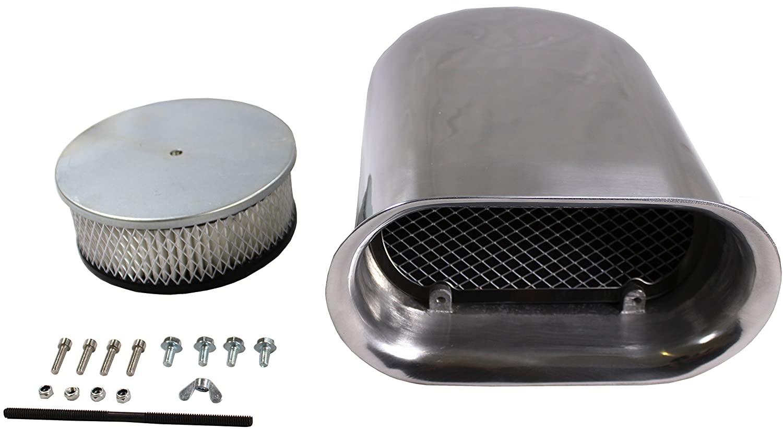 DEMOTOR PERFORMANCE Polished Aluminum Hilborn Style Hood Scoop Single Quad air cleaner 4 barrel carb
