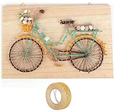 String Art Wooden Frame Set 30 x 20 cm Bicycle + Golden Glitter Tape 5 m