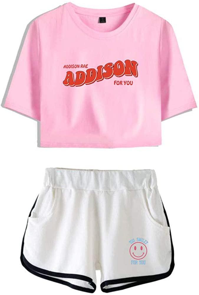WAWNI Addison RAE Merch Women Crop Tops Two Piece Set Shorts+Lovely T-Shirt Summer Harajuku Streetwear Girl Sets