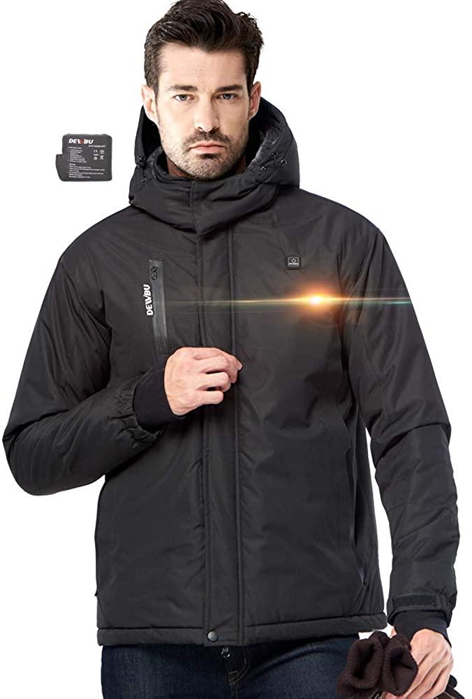 DEWBU Heated Jacket Electric Men's Hoodie Jacket Outdoor Winter Heat Clothing 5000mAh Battery Included(Black,XL)