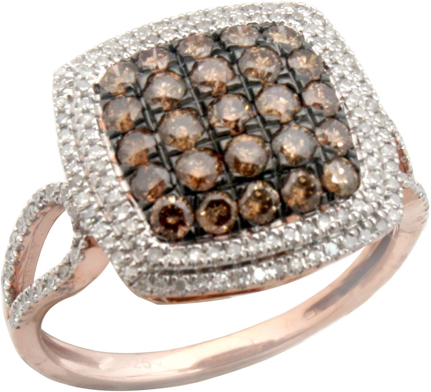 Prism jewel 1.02 Carat Round Natural Brown Diamond & White Diamond Cluster Ring, Rose Gold Plated Silver, Size 7