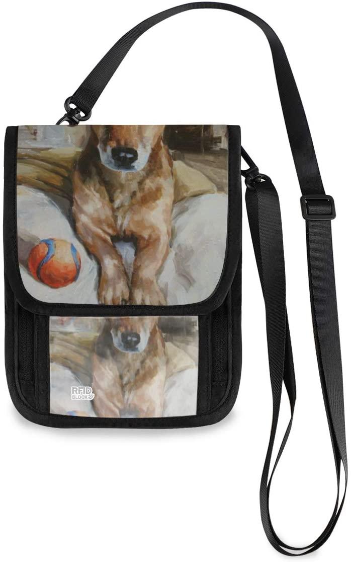 Travel Neck Wallet Dachshund Portrait Painting Animal Paiting Passport Holder Organized Travel Neck Pouch Crossbody Phone Bag for Women Men