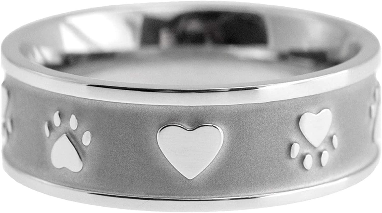 Joyful Sentiments Pet Jewelry Stainless Steel Paw Print Heart Sandblasted Ring