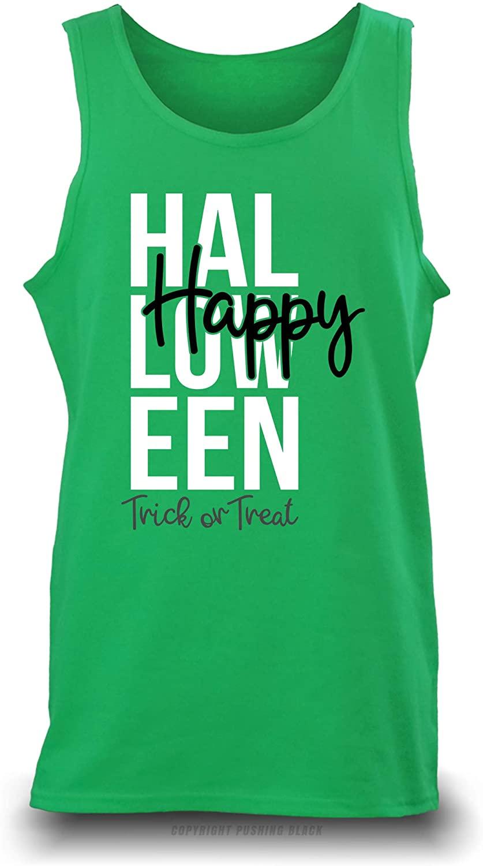 Pushing Black 'Happy Halloween - Trick or Treat Unisex Tank Top (Turf Green (Gildan), 3XL)