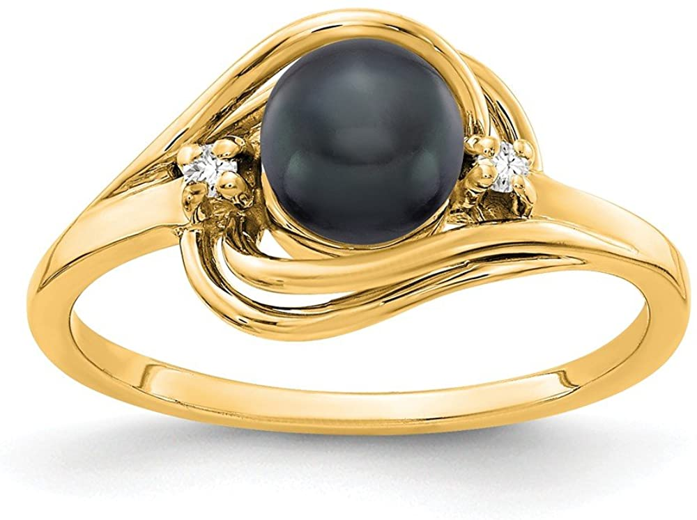 14K Yellow Gold Ring Band 1 mm Polished Diamond & Pearl Mounting, Size 7