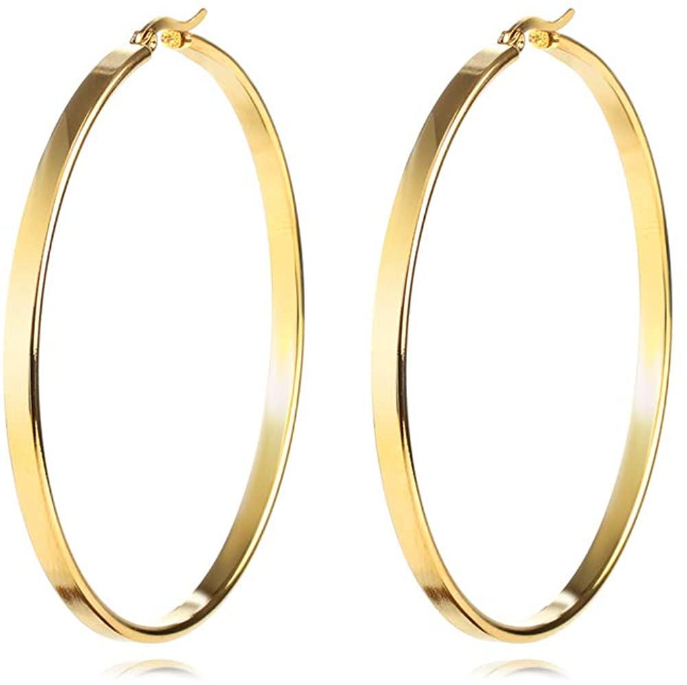 Star Hoop Earrings Stainless Steel Large Star Heart Triangle Geometric Gold Hoop Earrings For Women Girls