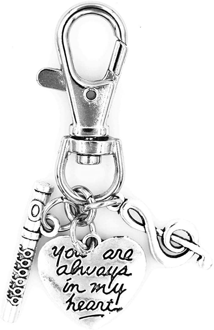 You are Always in My Heart Treble Clef Flute Swivel Clasp Clip on Charm 16H