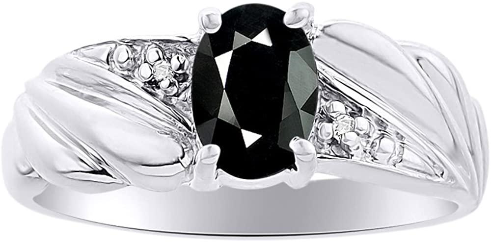 Diamond & Onyx Ring Set In 14K White Gold Color Stone Birthstone