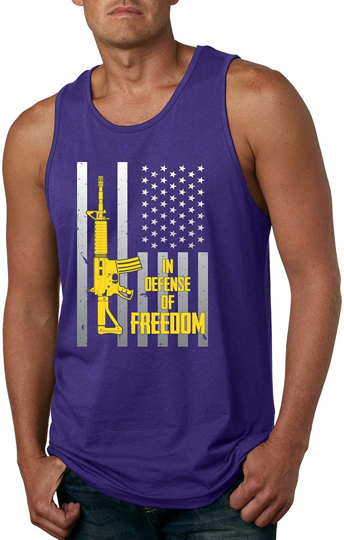 in Defense of Freedom Pro Gun AR15 USA Flag   Mens Americana/American Pride Graphic Tank Top