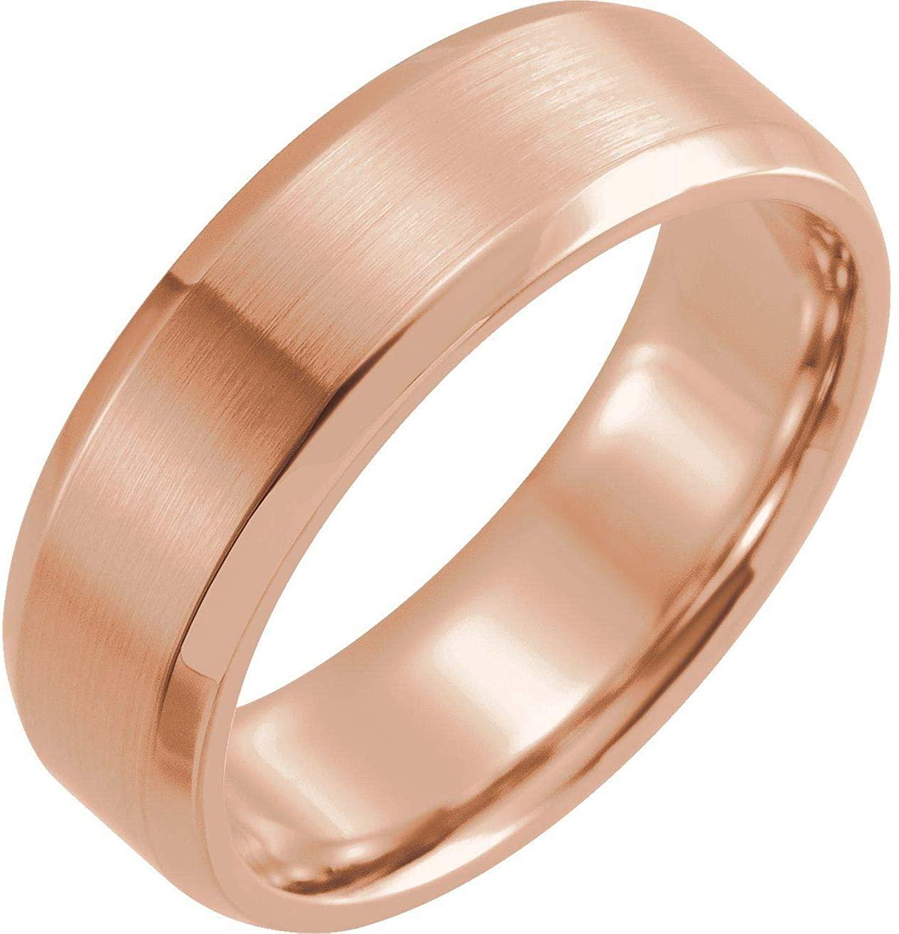 Bonyak Jewelry 18k Rose Gold 7mm Beveled-Edge Band with Satin Finish - Size 11