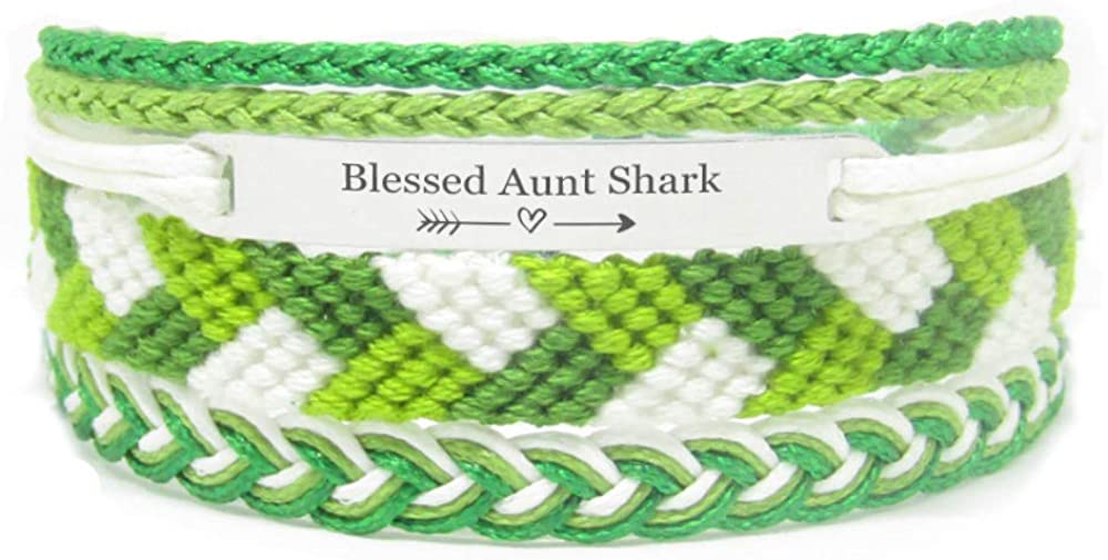 Miiras Family Engraved Handmade Bracelet - Blessed Aunt Shark - Green - Made of Embroidery Thread and Stainless Steel - Gift for Aunt Shark