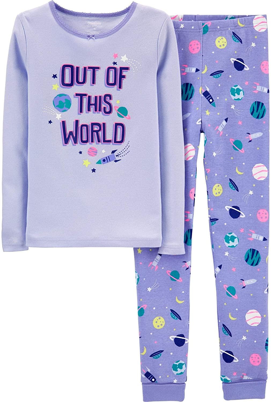 OshKosh B'Gosh Girls 2 Piece Out of This World Snug Fit Cotton Pajamas Violet Purple, Size 14