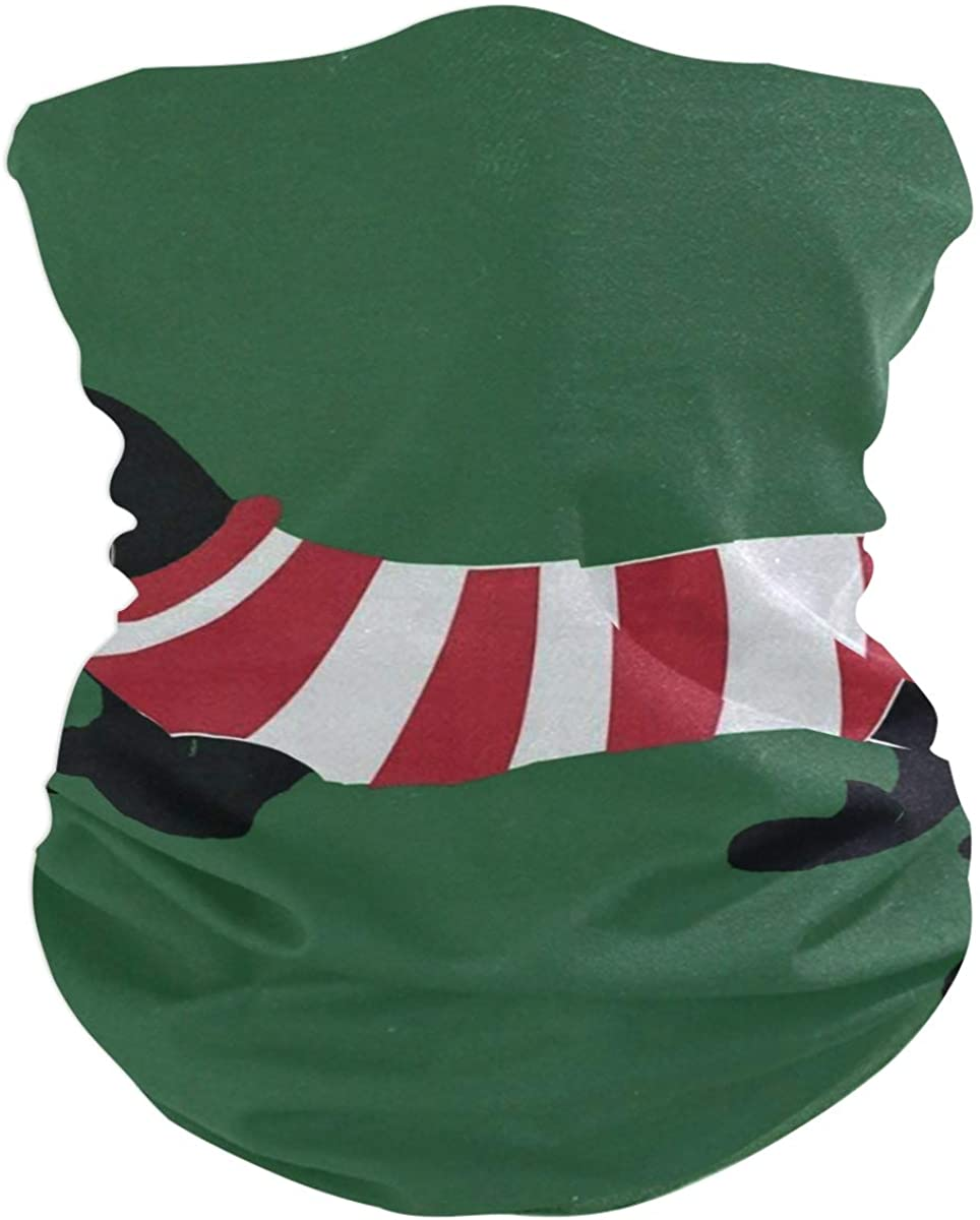 Dachshund Dog Green Christmas Face Mask UV Sun Mask Dust Wind Neck Gaiter Magic Bandana