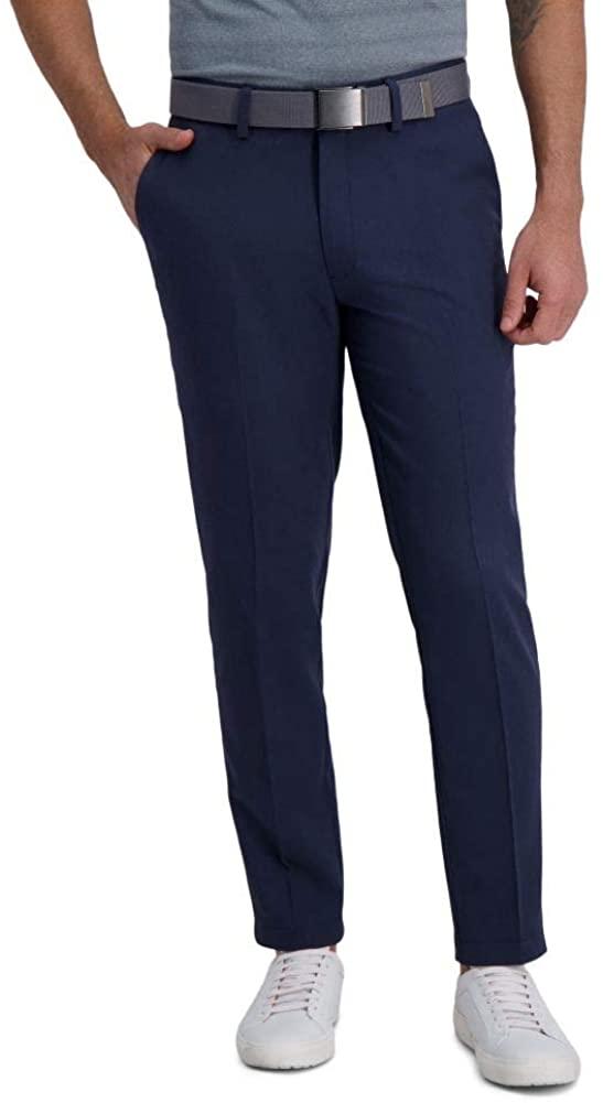 Haggar Men's Cool Right Performance Flex Stria Slim Fit Flat Front Pant