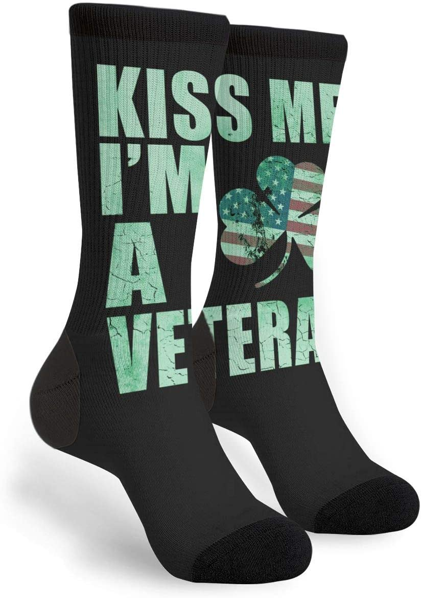 NGFF Patriotic Kiss Me Im A Veteran Men Women Funny Sport Novelty Crew Tube Socks