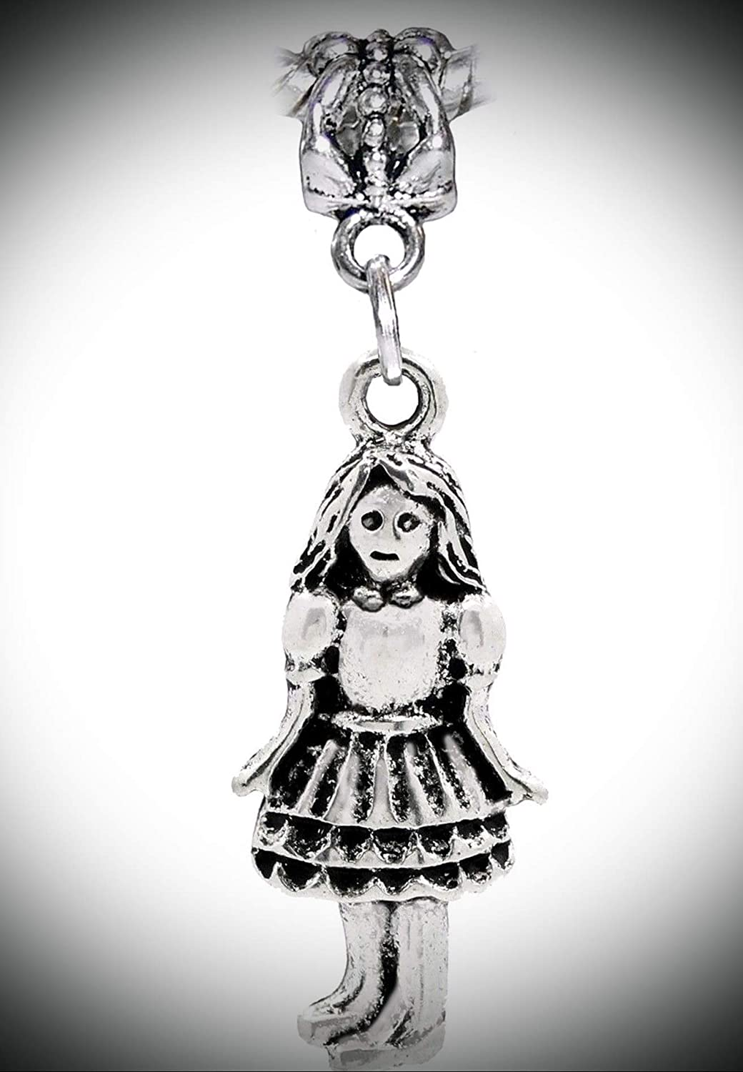 Little Girl Daughter Granddaughter Niece Doll Dangle Charm for European Bracelet Adorable Charms and More for Your own Designs by CharmingStuffS