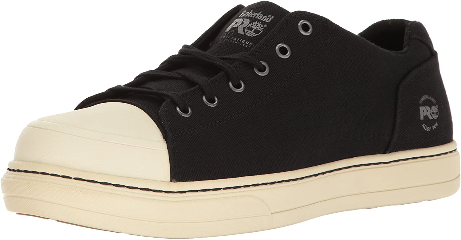 Timberland PRO Mens Disruptor Oxford Alloy Safety Toe EH Industrial & Construction Shoe, Black/White Canvas, 8 W US