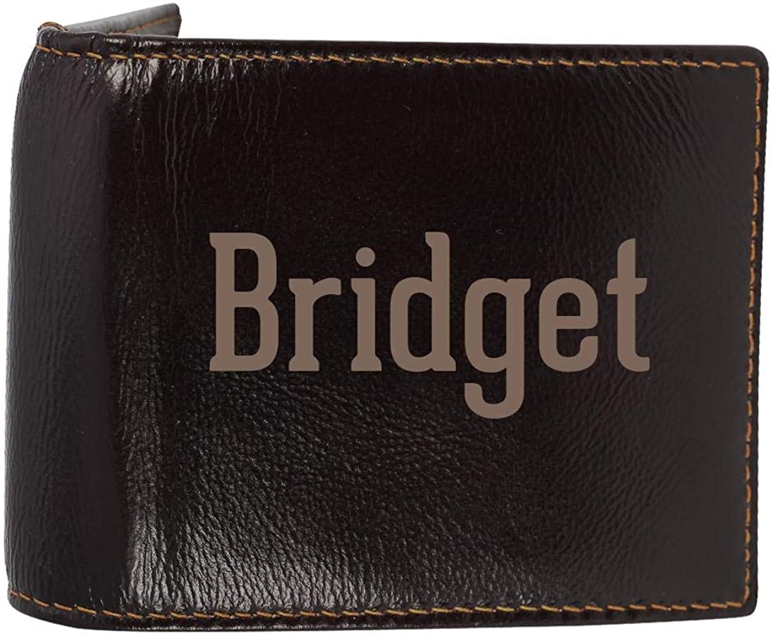 Bridget - Genuine Engraved First Name Soft Cowhide Bifold Leather Wallet