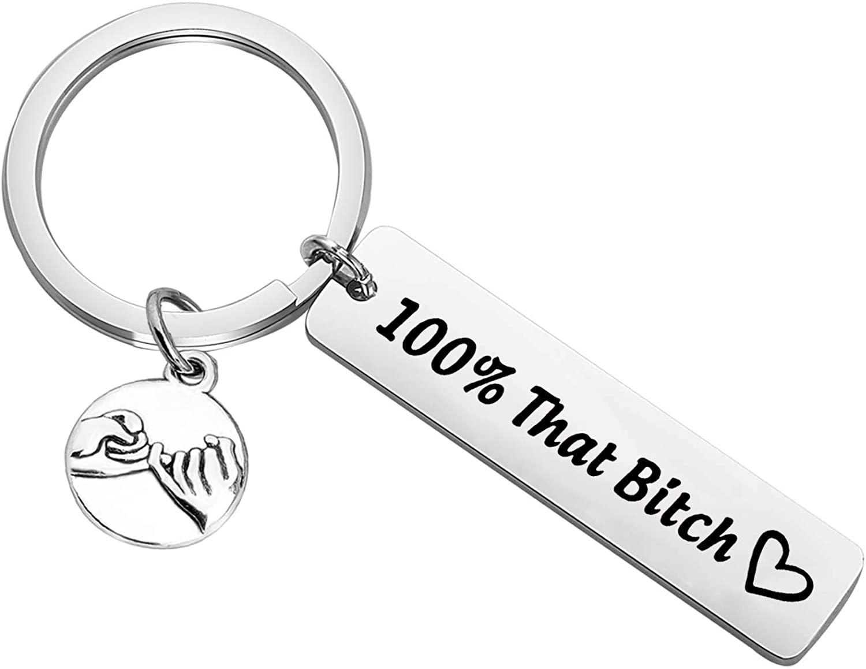 CENWA Bitch Jewelry 100% That Bitch Pinky Promise Pinky Swear Keychain Boss Babe Jewelry Girl Boss Gift DNA Test Jewelry Choose Your Feminist Phrase