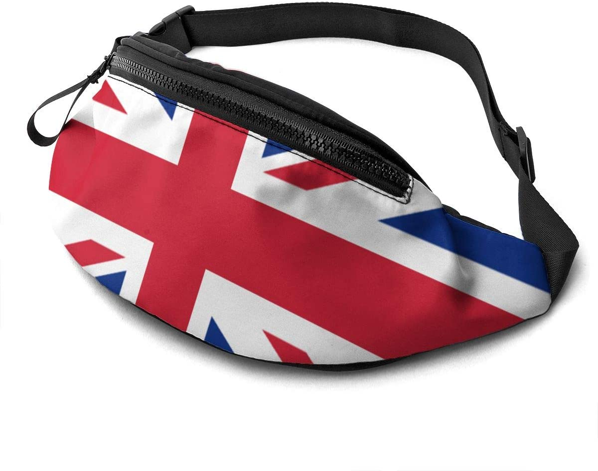 Uk British Flag Fanny Pack For Men Women Waist Pack Bag With Headphone Jack And Zipper Pockets Adjustable Straps