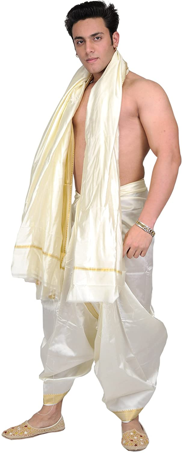 Exotic India Cream Dhoti and Angavastram with Golden Woven Border