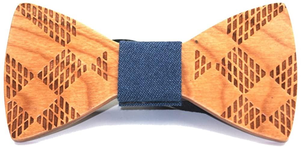 SAMBAN Fashion Creative Wood Bow Tie Pre Tie Handmade Bowtie Necktie Men's Gift