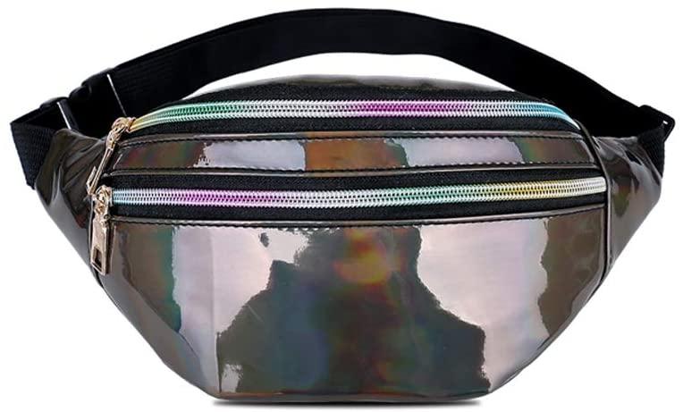 Holographic Fanny Packs for Women & Men - Fashion Waist Pack Bum Bag with Adjustable Belt.